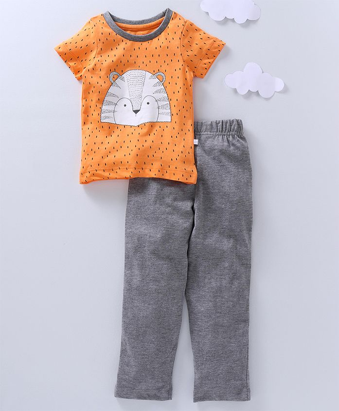 Babyoye Half Sleeves Night Wear Animal Print - Orange Grey