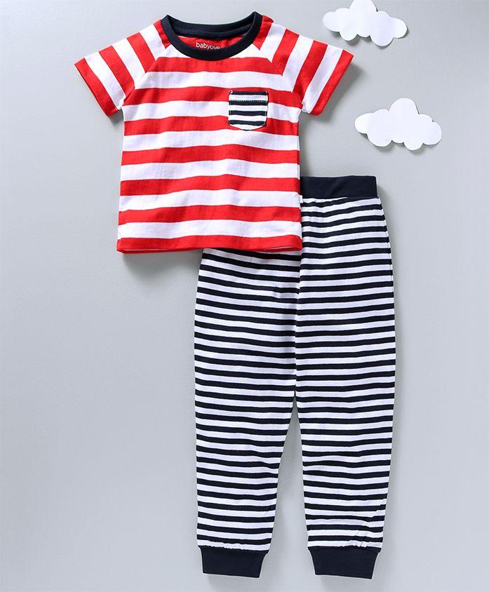 Babyoye Short Sleeves Night Wear Stripes Print - Red