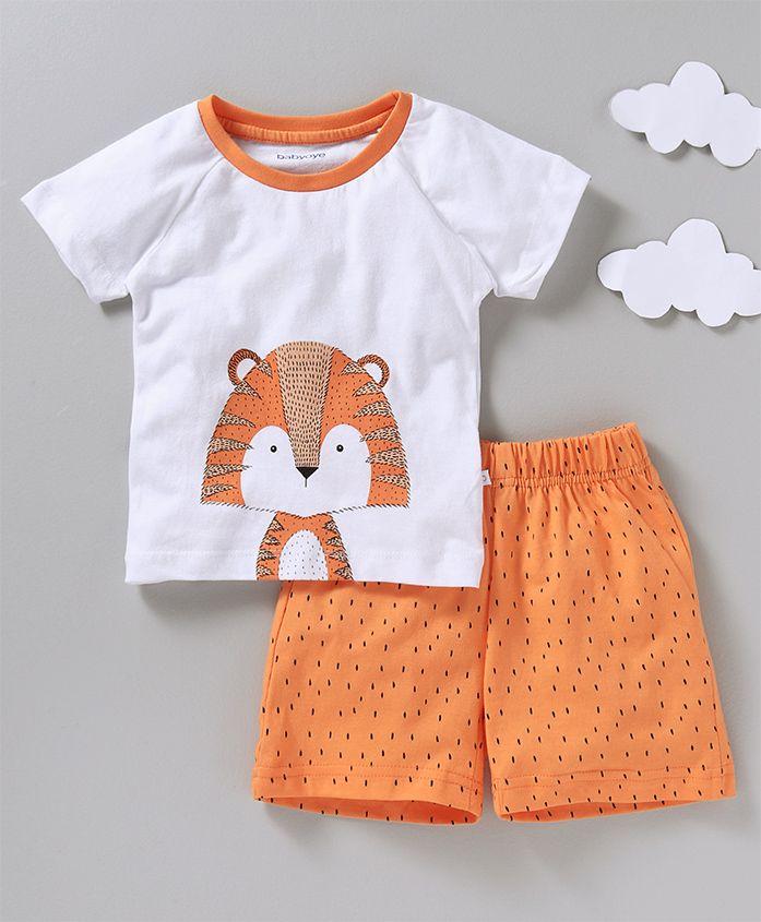 Babyoye Half Sleeves Night Suit Animal Print - White Orange