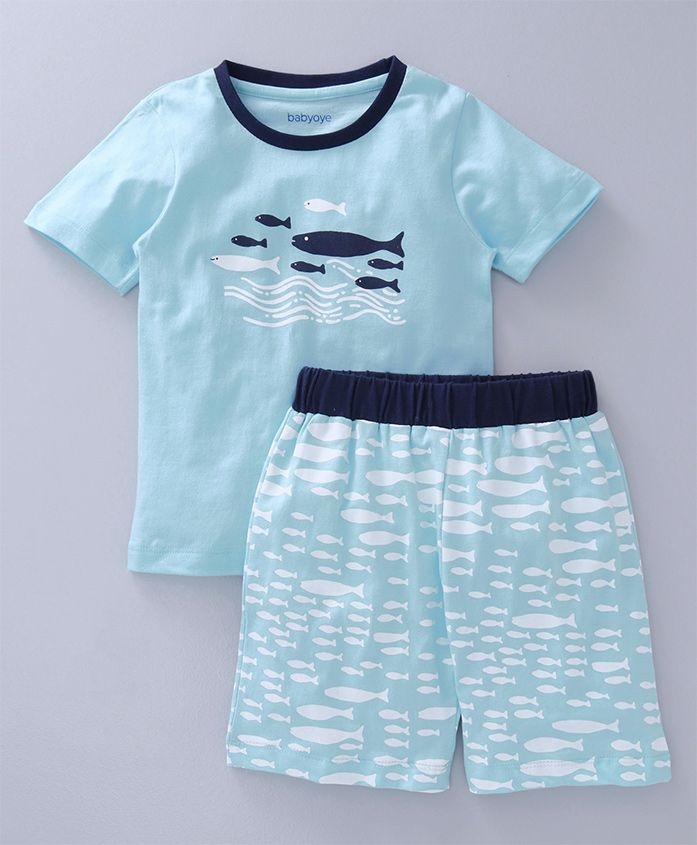 Babyoye Half Sleeves Night Suit Fish Print - Light Blue