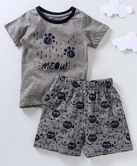 Babyoye Half Sleeves Night Suit Meow Print - Grey