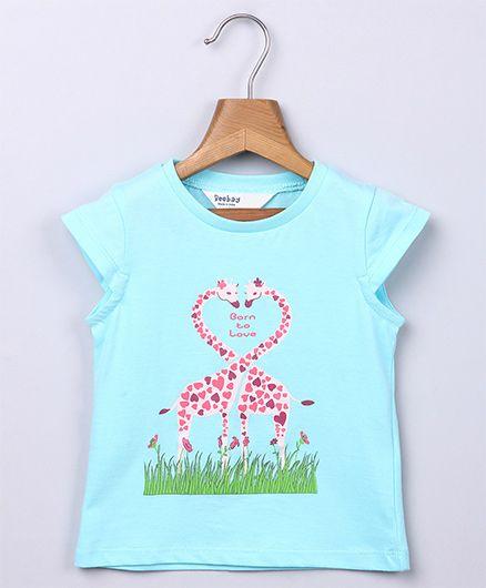 Beebay Giraffe Print T-shirt - Turquoise
