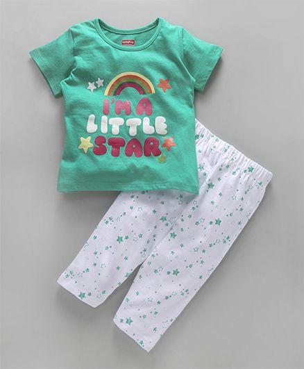 Babyhug Half Sleeves Night Suit Little Star Print - Aqua Green White