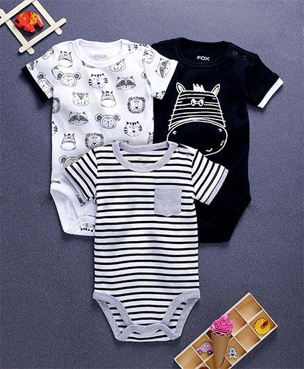 Fox Baby Half Sleeves Onesies Animal Print Pack Of 3 - White Navy