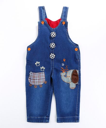 Pre Order - Awabox Elephant Applique Dungaree With Buttons - Blue