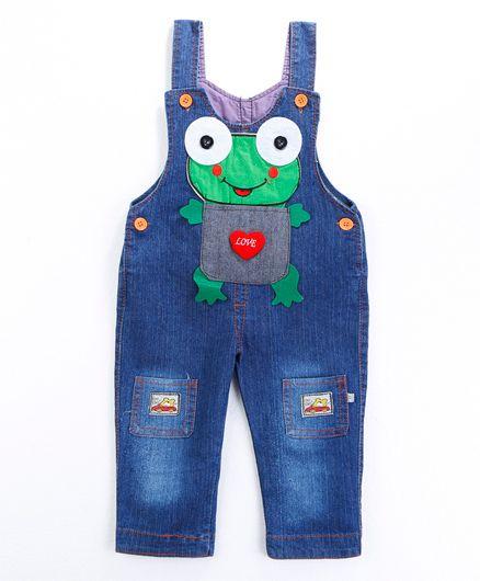 Pre Order - Awabox Frog Applique Dungaree - Blue
