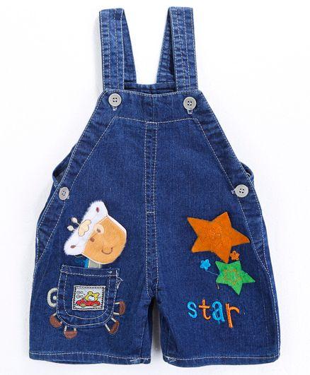 Pre Order - Awabox Star Applique Dungaree Shorts - Blue