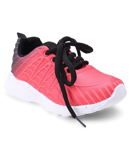 Cute Walk by Babyhug Lace Up Sports Shoes - Peach Black