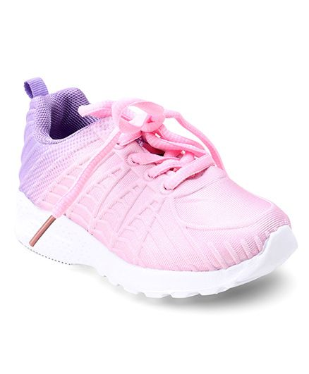 Cute Walk by Babyhug Lace Up Sports Shoes - Pink Purple