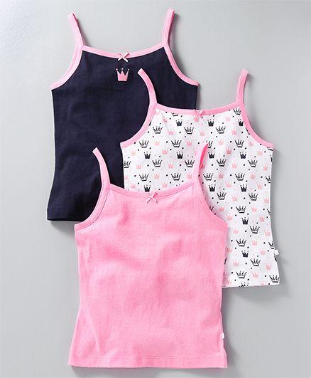Babyoye Singlet Slips Pack of 3 Crown Print - Pink Navy White