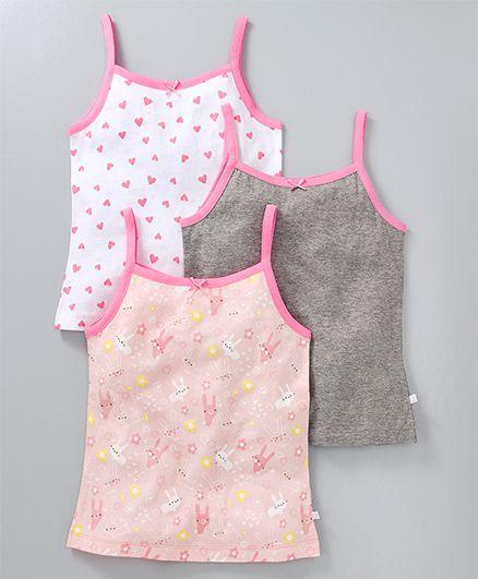 Babyoye Singlet Slips Pack of 3 - Light Pink White Grey