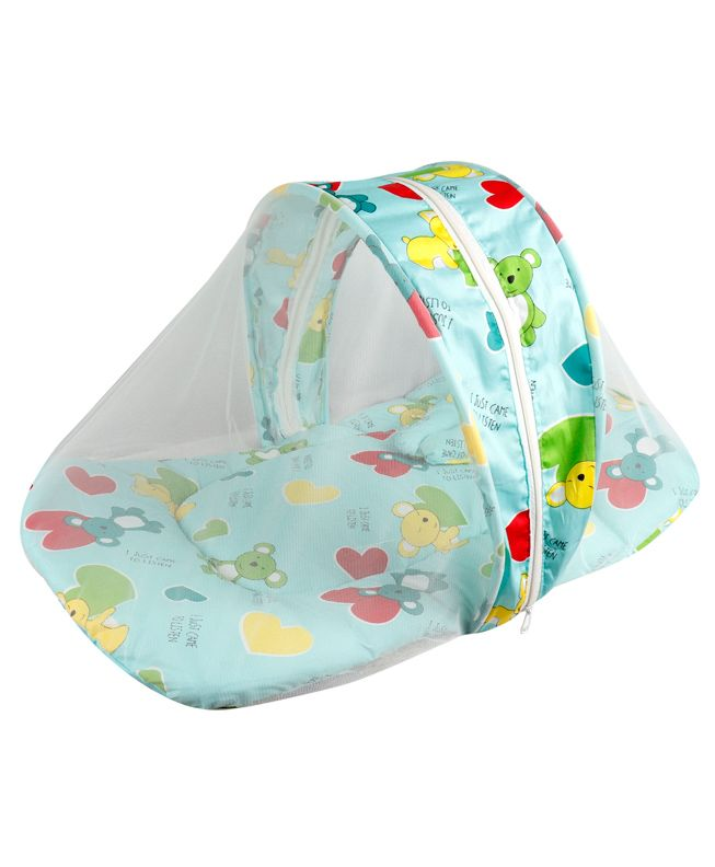 Little Hug Mattress Set with Mosquito Net Floral Print - White Teal Blue