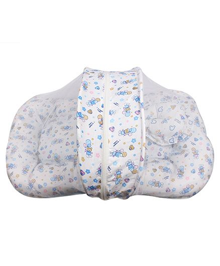 Little Hug Mattress Set with Mosquito Net Floral Print - White Blue