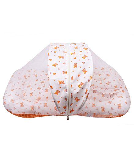 Little Hug Mattress Set with Mosquito Net Bear & Star Print - White Orange