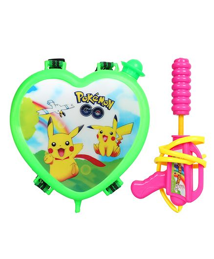 DealBindaas Pokemon Water Gun With Heart Shaped Back Pack (Assorted Colours)