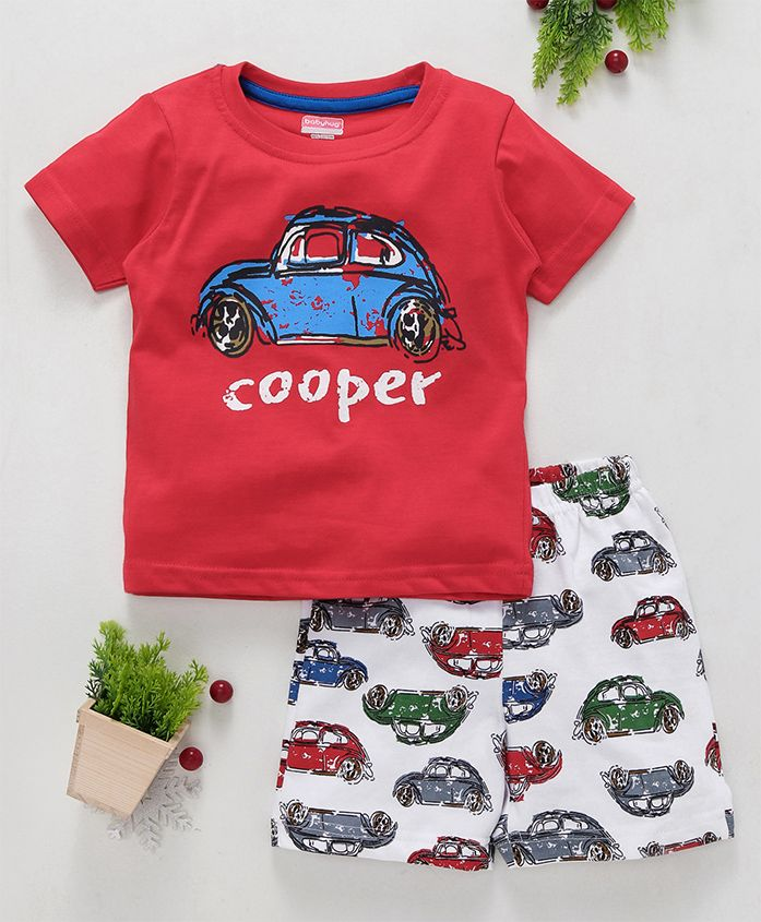 Babyhug Half Sleeves T-Shirt & Shorts Car Print - Red