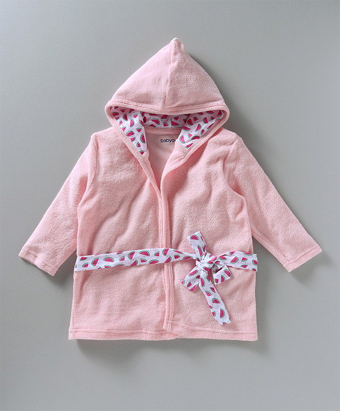 Babyoye Full Sleeves Hooded Bath Robe - Light Pink
