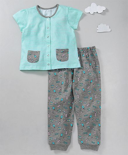 Babyoye Short Sleeves Night Suit Stripes & Summer Print - Sea Green Grey