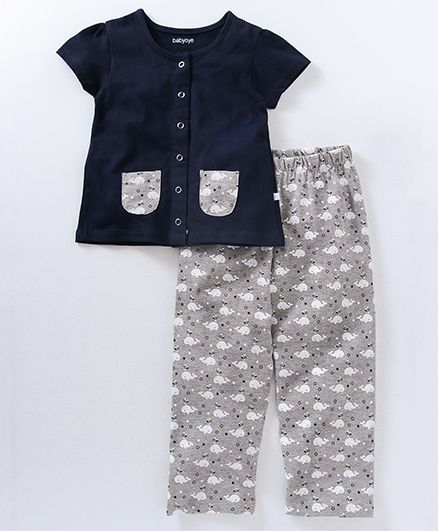 Babyoye Short Sleeves Night Suit Whale Print - Navy