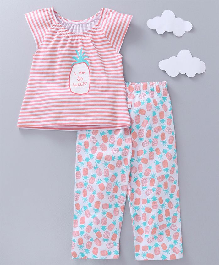 Babyoye Cap Sleeves Night Suit Pineapple & Stripes Print - Coral Pink
