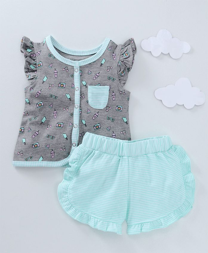 Babyoye Short Ruffled Sleeves Top & Shorts Night Wear Summer Print - Sea Green Grey