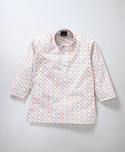 Rikidoos Dot Printed Full Sleeves Kurta With Chinese Collar - White