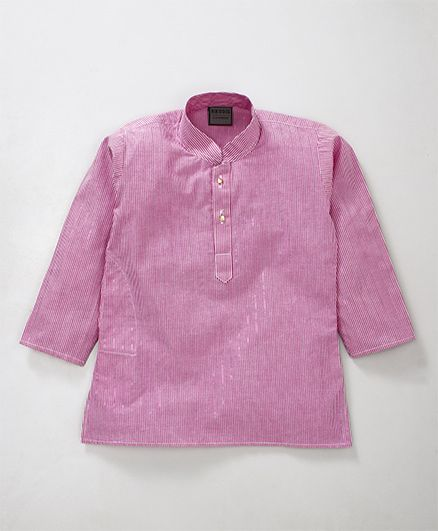 Rikidoos Narrow Stripes Printed Full Sleeves Kurta With Chinese Collar - Pink