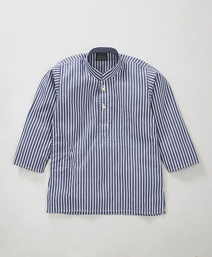 Rikidoos Stripes Printed Full Sleeves Kurta With Chinese Collar - Navy Blue