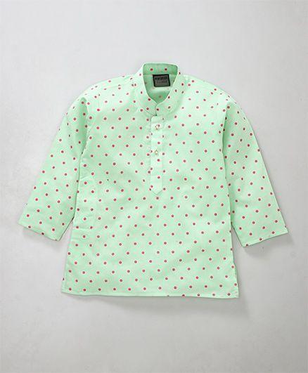 Rikidoos Polka Printed Full Sleeves Kurta With Chinese Collar - Green