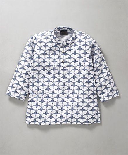 Rikidoos Bird Printed Full Sleeves Kurta With Chinese Collar - White