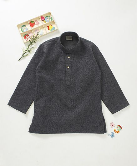 Rikidoos Solid Textured Full Sleeves Kurta With Chinese Collar - Dark Grey
