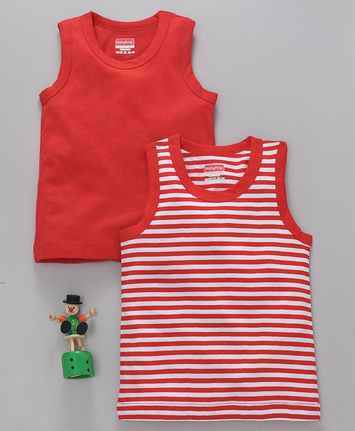 Babyhug Sleeveless Solid & Striped Vests Set of 2 - Red