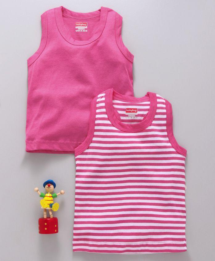 Babyhug Solid & Striped Racerback Vests Pack of 2 - Dark Pink