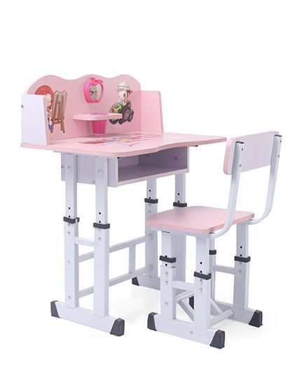 Study Table With Chair Girl & Boy Print - Pink White