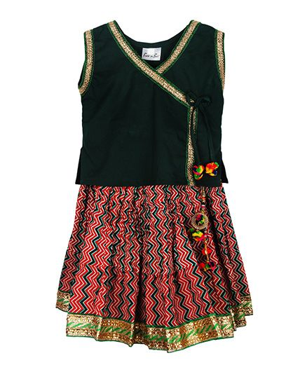 BownBee Assymetric Choli With Tie & Sanganeri Skirt - Green & Maroon