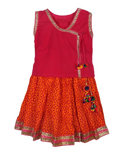 BownBee Assymetric Choli With Tie & Sanganeri Skirt - Pink & Orange