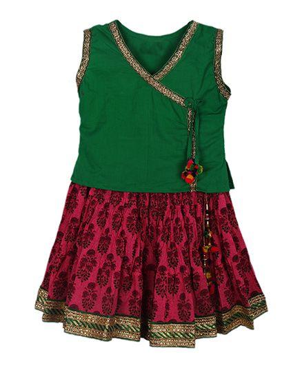 BownBee Assymetric Choli With Tie & Sanganeri Skirt - Green & Pink