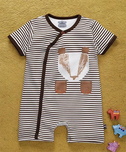 Mini Taurus Half Sleeves Romper Stripes Print - Light Brown