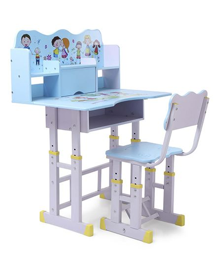 Study Table With Chair Girl Print - Blue White
