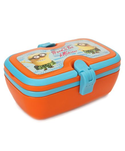 Minions Lunch Box With Spoon & Fork - Orange Blue