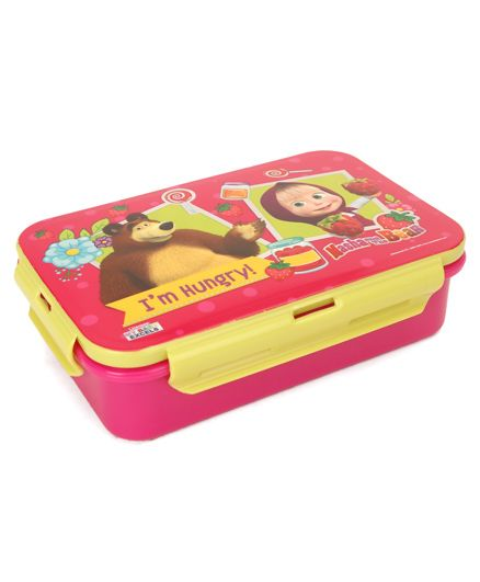 Masha & The Bear Lunch Box With Fork And Spoon - Pink Yellow