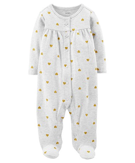 Carters Heart Snap-Up Cotton Sleep & Play - Grey