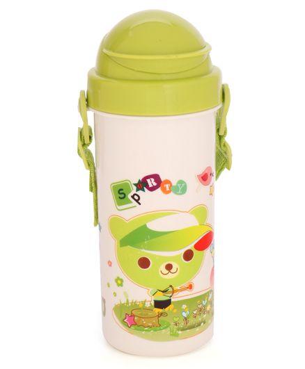 Flip Open Sipper Water Bottle With Strap Green - 500 ml