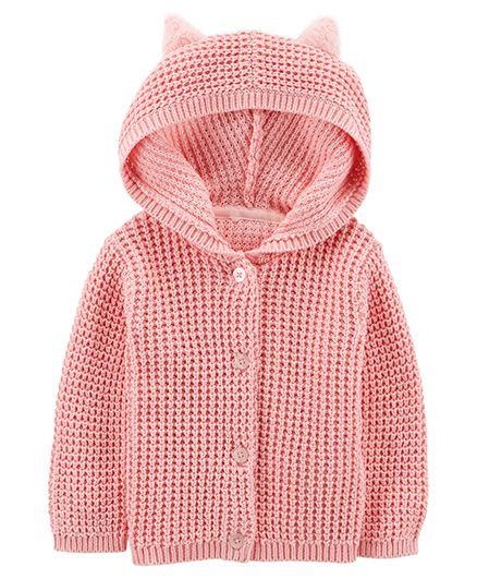Carters Button-Front Cardigan - Pink