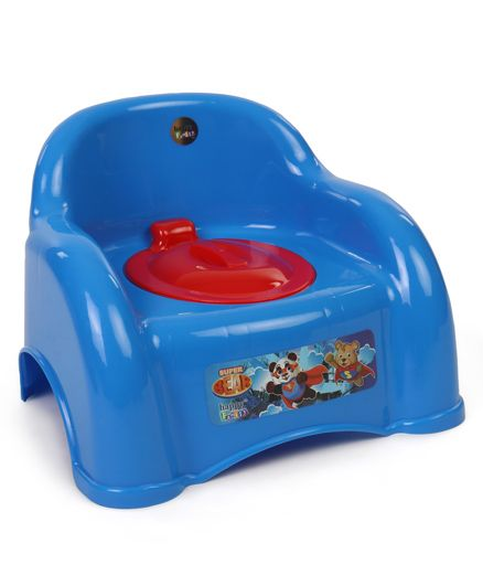 Ratnas Potty Chair With Lid Super Bear Print - Blue Red