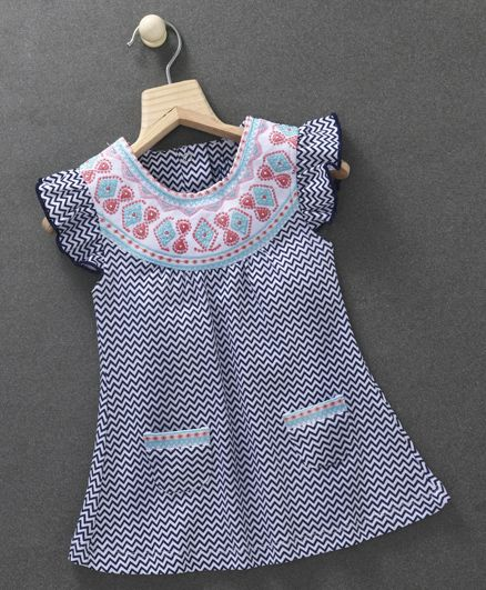 Baby Go Flutter Sleeves Embroidered Yoke Chevron Frock - White Navy Blue
