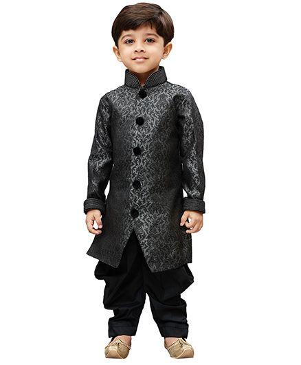 JBN Creation Embroidered Kurta & Cowl Style Dhoti Pant Set - Grey & Black