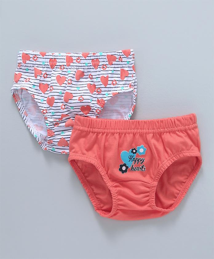Babyhug Cotton Panties Heart Print Pack of 2 - Peach White