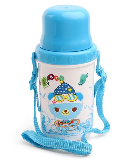 Sipper Water Bottle Teddy Print Blue - 500 ml