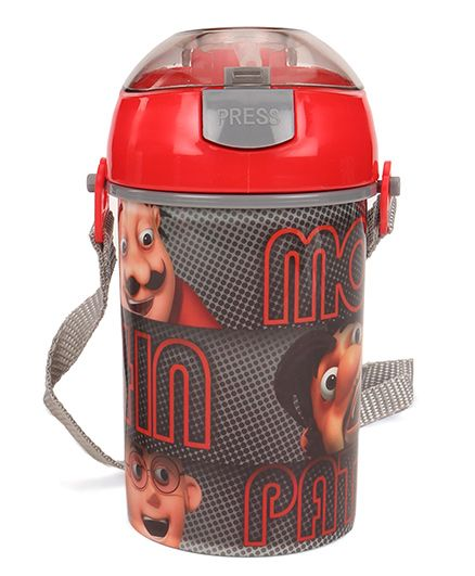 Motu Patlu Sipper Water Bottle With Push Button Top Red - 400 ml